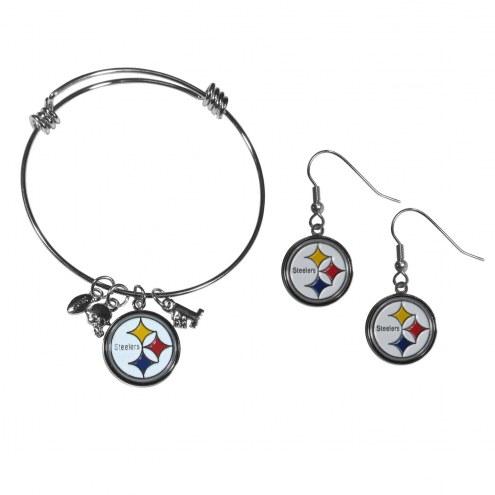 Pittsburgh Steelers Dangle Earrings & Charm Bangle Bracelet Set