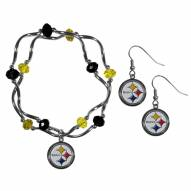 Pittsburgh Steelers Dangle Earrings & Crystal Bead Bracelet Set