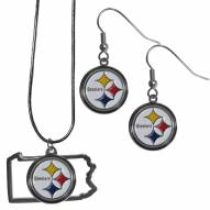 Pittsburgh Steelers Dangle Earrings & State Necklace Set