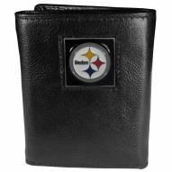 Pittsburgh Steelers Deluxe Leather Tri-fold Wallet in Gift Box