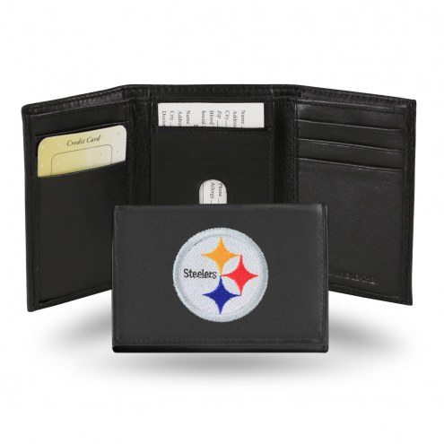 Pittsburgh Steelers Embroidered Leather Tri-Fold Wallet