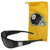 Pittsburgh Steelers Etched Chrome Wrap Sunglasses & Bag