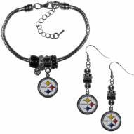 Pittsburgh Steelers Euro Bead Earrings & Bracelet Set