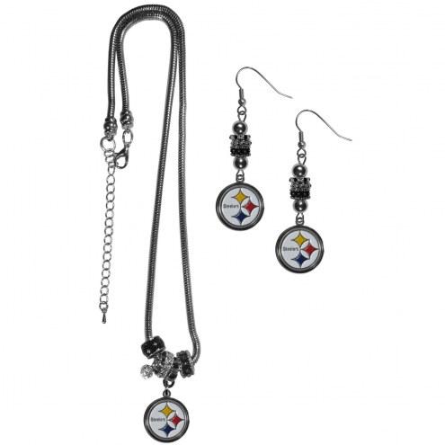 Pittsburgh Steelers Euro Bead Earrings & Necklace Set