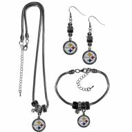 Pittsburgh Steelers Euro Bead Jewelry 3 Piece Set