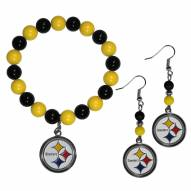 Pittsburgh Steelers Fan Bead Earrings & Bracelet Set