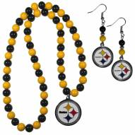 Pittsburgh Steelers Fan Bead Earrings & Necklace Set