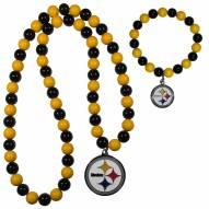 Pittsburgh Steelers Fan Bead Necklace & Bracelet Set