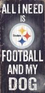 Pittsburgh Steelers Football & Dog Wood Sign