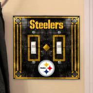 Pittsburgh Steelers Glass Double Switch Plate Cover
