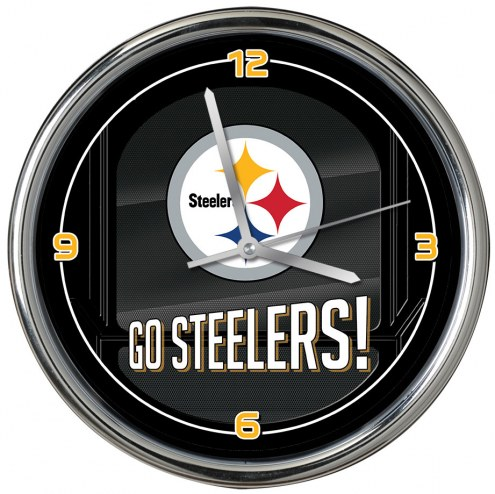 Pittsburgh Steelers Go Team Chrome Clock