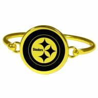 Pittsburgh Steelers Gold Tone Bangle Bracelet