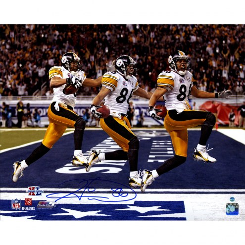 """Pittsburgh Steelers Hines Ward Super Bowl 43 Triple Exposure Signed 16"""" x 20"""" Photo"""