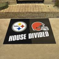 Pittsburgh Steelers/Cleveland Browns House Divided Mat