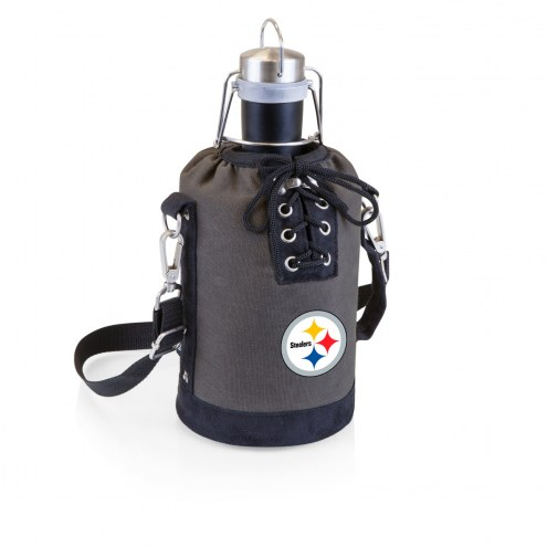Pittsburgh Steelers Insulated Growler Tote with 64 oz. Stainless Steel Growler