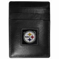 Pittsburgh Steelers Leather Money Clip/Cardholder in Gift Box