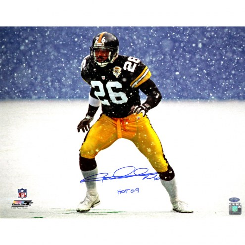 "Pittsburgh Steelers Rod Woodson Snow w/ ""HOF 09"" Signed 16"" x 20"" Photo"