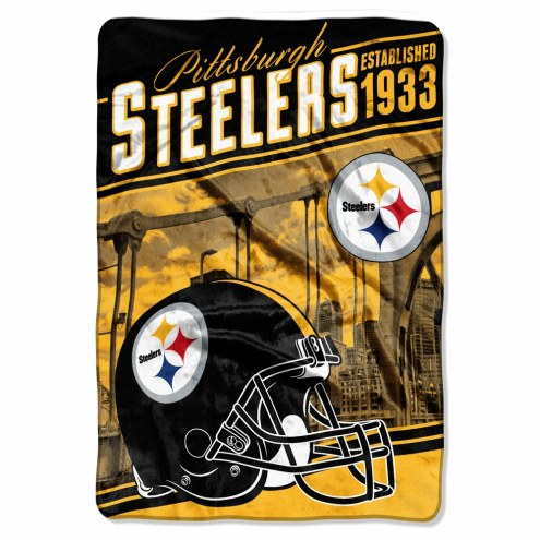 Pittsburgh Steelers Stagger Raschel Blanket