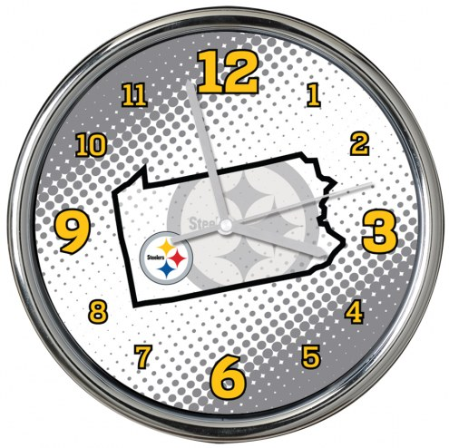 Pittsburgh Steelers State of Mind Chrome Clock