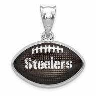 Pittsburgh Steelers Sterling Silver Enameled Football Pendant