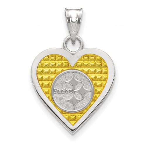 Pittsburgh Steelers Sterling Silver Enameled Heart Pendant