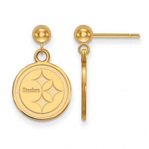 Pittsburgh Steelers Sterling Silver Gold Plated Dangle Ball Earrings