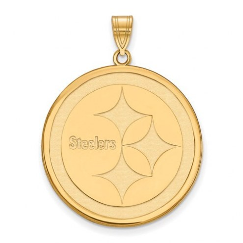 Pittsburgh Steelers Sterling Silver Gold Plated Extra Large Pendant