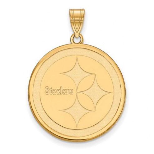 Pittsburgh Steelers Sterling Silver Gold Plated Large Pendant