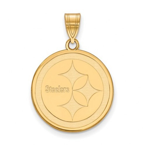 Pittsburgh Steelers Sterling Silver Gold Plated Medium Pendant