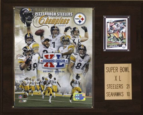 """Pittsburgh Steelers 12"""" x 15"""" Super Bowl XL Champions Plaque"""