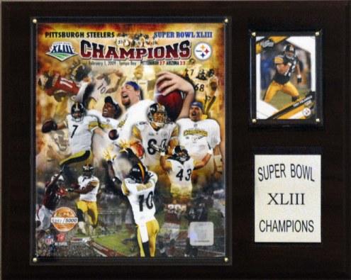 "Pittsburgh Steelers 12"" x 15"" Super Bowl XLIII Champions Gold Plaque"