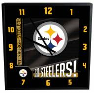 Pittsburgh Steelers Team Black Square Clock