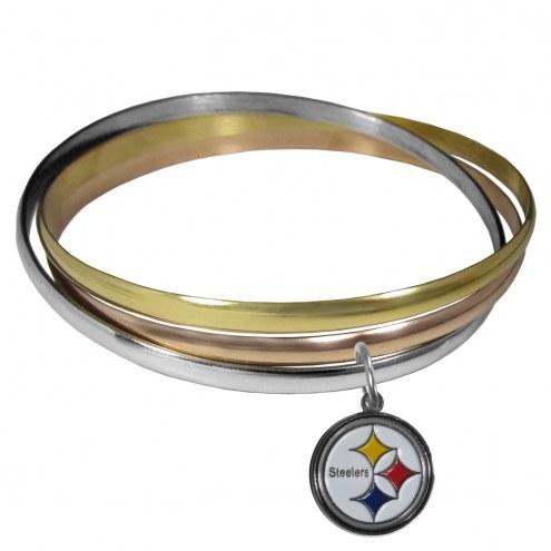 Pittsburgh Steelers Tri-color Bangle Bracelet
