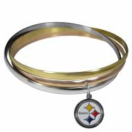 Pittsburgh Steelers Tri-color Bangle Bracelet
