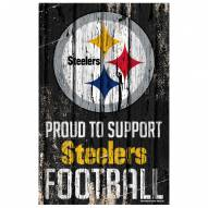 Pittsburgh Steelers Proud to Support Wood Sign