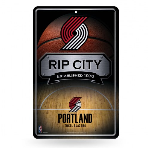 Portland Trail Blazers Large Embossed Metal Wall Sign