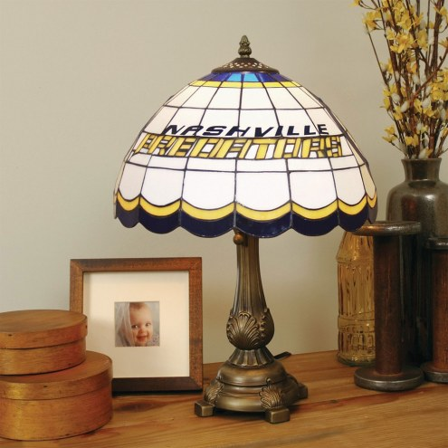 Nashville Predators NHL Stained Glass Table Lamp