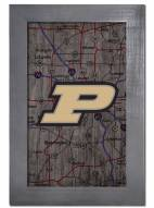 """Purdue Boilermakers 11"""" x 19"""" City Map Framed Sign"""