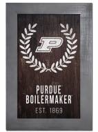 "Purdue Boilermakers 11"" x 19"" Laurel Wreath Framed Sign"