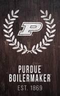 "Purdue Boilermakers 11"" x 19"" Laurel Wreath Sign"