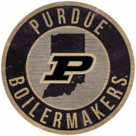 """Purdue Boilermakers 12"""" Circle with State Sign"""