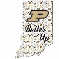 """Purdue Boilermakers 12"""" Floral State Sign"""