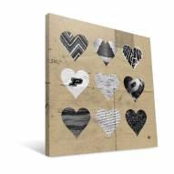 "Purdue Boilermakers 12"" x 12"" Hearts Canvas Print"
