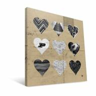 "Purdue Boilermakers 12"" x 12"" Hearts Canvas Print"