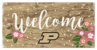 """Purdue Boilermakers 6"""" x 12"""" Floral Welcome Sign"""