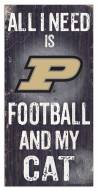 "Purdue Boilermakers 6"" x 12"" Football & My Cat Sign"