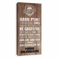 Purdue Boilermakers Family Rules Icon Wood Printed Canvas