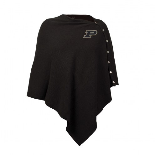 Purdue Boilermakers Black Out Button Poncho