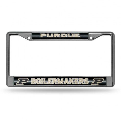 Purdue Boilermakers Chrome Glitter License Plate Frame