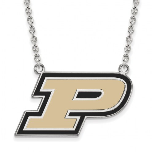 Purdue Boilermakers Sterling Silver Large Enameled Pendant Necklace
